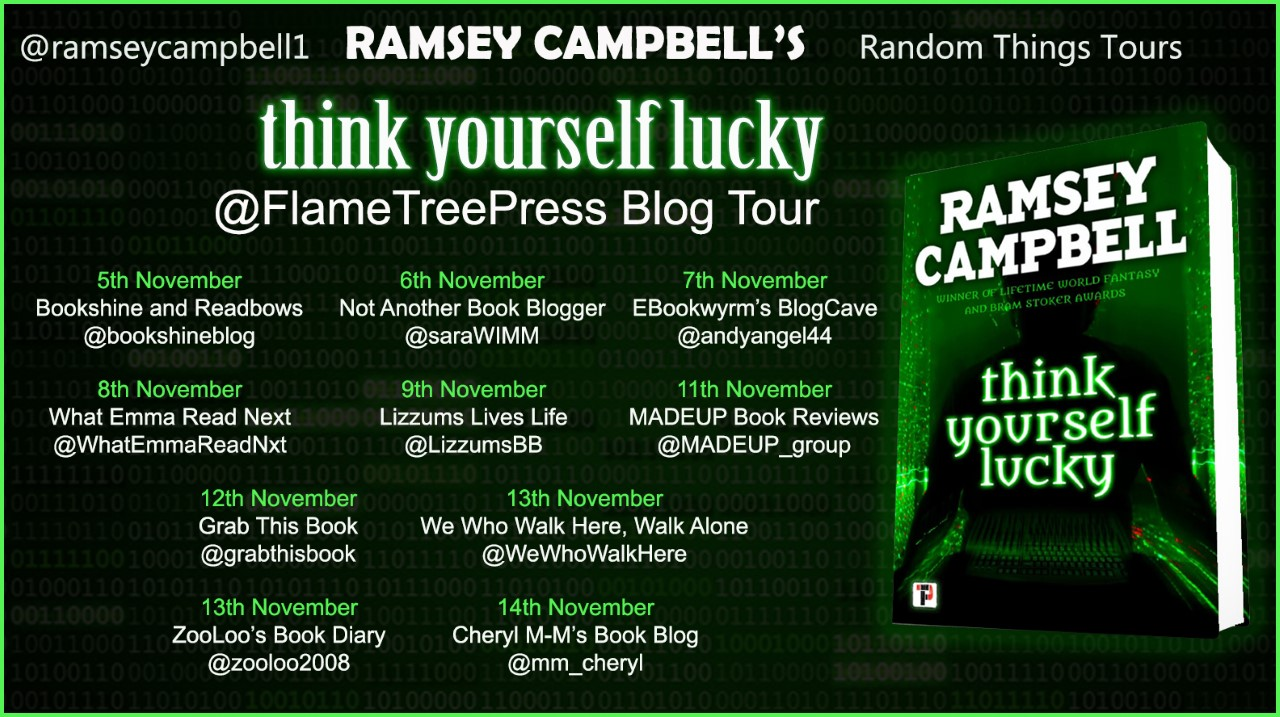 Paperback copy of Think Yourself Lucky by Ramsey Campbell