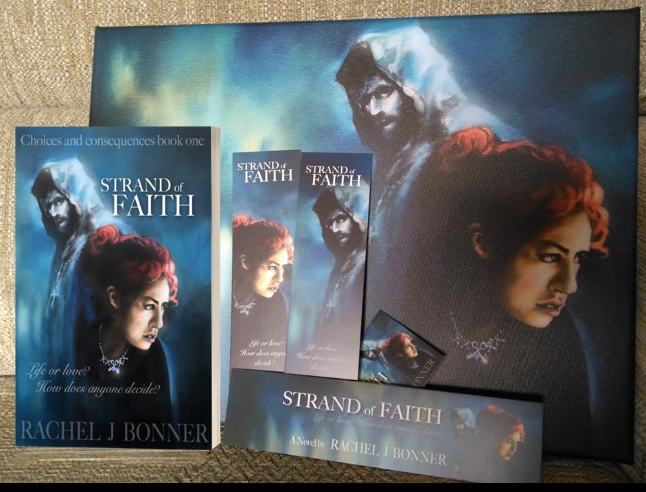 Win a signed paperback copy of Strand of Faith, a set of bookmarks (3 styles plus a business card) featuring the cover art, and a canvas print (40cm by 30cm) of the original cover art. Open Internationally