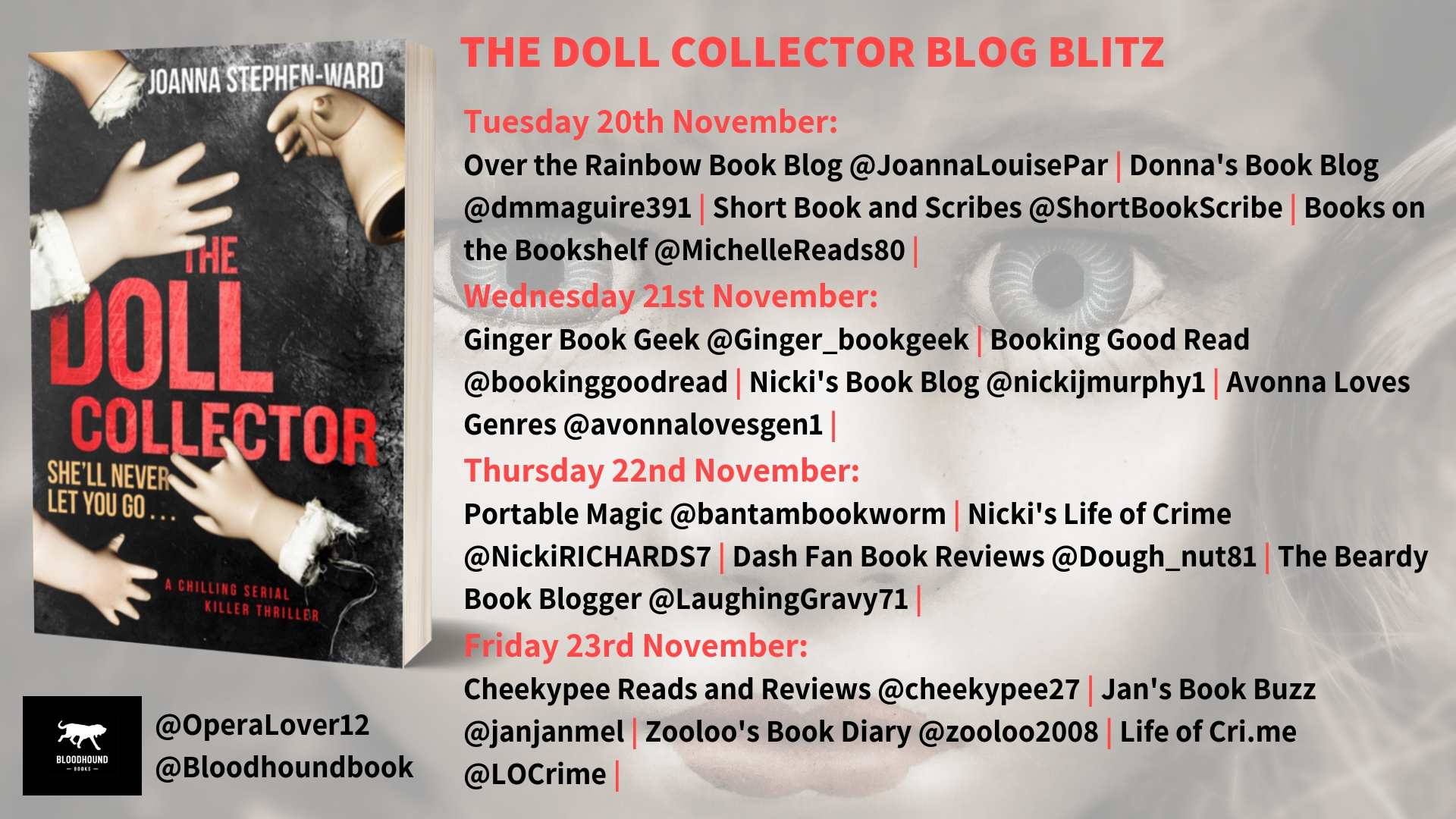 ***#GuestPost by Joanna Stephen-Ward, author of The Doll Collector @OperaLover12 @bloodhoundbook