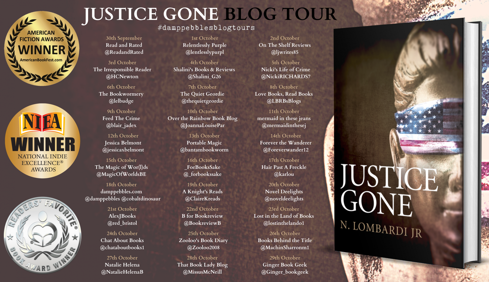 ***#BookReview of Justice Gone by N.Lombardi Jr #JusticeGone #NLombardiJr @damppebbles #damppebblesblogtours